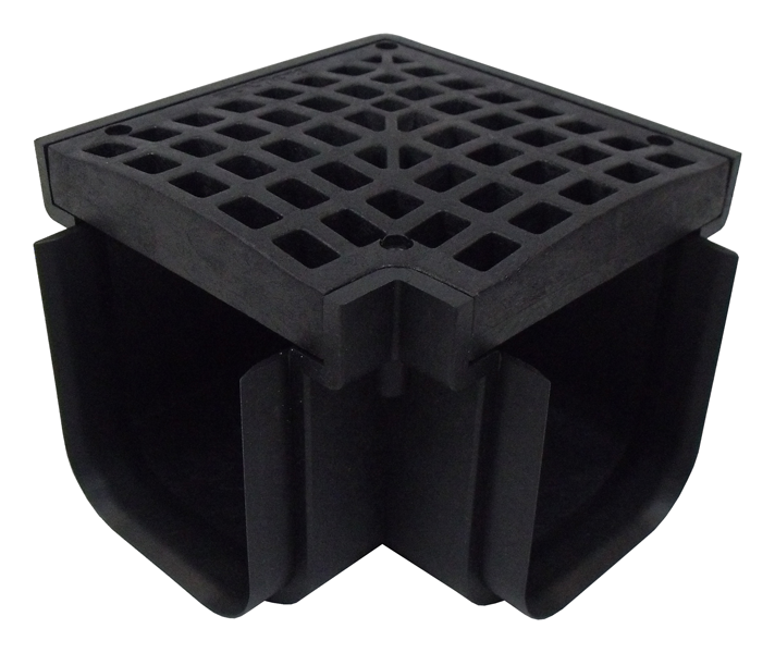 PolyLok 90 Degree Connection for Polylok Heavy Duty Channel & Trench Drain (PL-90860-90) (Black)